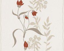 As-Creation Avenzio 7, 95874-1 Modern virágminta bézs barna piros fehér fémes hatás tapéta