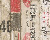 Gyerekszobai szines deszkapalánk feliratokkal bézs barna piros fekete tapéta