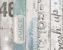Gyerekszobai deszkapalánk szines feliratokkal bézs szürke kék türkiz tapéta