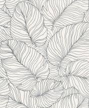 Grandeco Phoenix A50901 Natur Grafikus levélmintázat fehér fekete tapéta