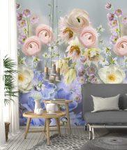 Behang Expresse Digital AK1060 Natur nagyformátumú stilizált virágok szürke rózsaszín kék szines digitális nyomat