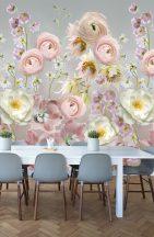 Behang Expresse Digital AK1061 Natur nagyformátumú stilizált virágok szürke rózsaszín szines digitális nyomat