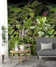Behang Expresse Digital AK1063 Natur botanikus trópusi növények zöld korallszín fekete digitális nyomat