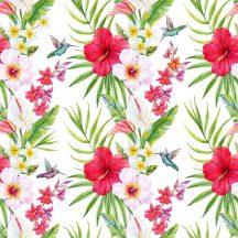 Greenery DD116608  Natur trópus virágok kolibrikkel fehér zöld piros szines digitális nyomat