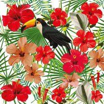 Greenery DD116609  Natur trópus virágok tukánnal fehér zöld piros szines digitális nyomat