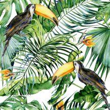 Natur trópusi virágos dzsungel motívum tukánokkal fehér zöld sárga szines digitális nyomat
