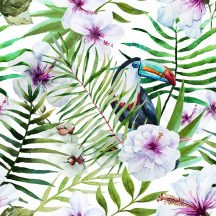 Natur trópusi virágos dzsungel motívum tukánnal fehér zöld lila szines digitális nyomat