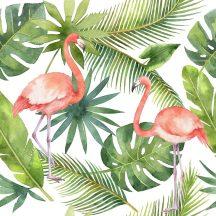 Greenery DD116612  Natur trópusi levélzet flamingókkal fehér zöld rózsaszín digitális nyomat