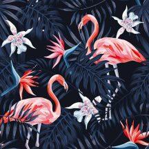 DD116613  Natur trópusi levélzet flamingókkal sötétkék fekete lazacpiros digitális nyomat