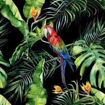 DD116615 Natur trópusi virágos dzsungel motívum ara papagájjal fekete szines digitális nyomat