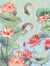 As-Creation Metropolitan Stories II, DD118830 Natur Etno tavirózsás tó Koi pontyokkal vízkék és zöld szürke piros hússzín falpanel