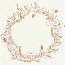 Caselio Green Life 101681020 HARMONY Natur levélfonat koszorúba kötve krém bézs arany tapéta