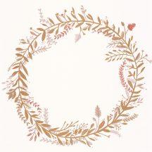 Caselio Green Life 101684026 HARMONY Natur levélfonat koszorúba kötve krém bézs arany rózsaszín tapéta