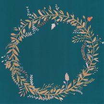 Caselio Green Life 101686029  HARMONY Natur levélfonat koszorúba kötve telt kék arany rózsaszín tapéta