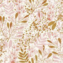 Caselio Green Life 101694002 JOY Natur botanikus levélágak levelek krém rózsaszín arany tapéta