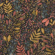 Caselio Green Life 101694129 JOY Natur botanikus levélágak levelek fekete okkersárga rózsaszín arany tapéta
