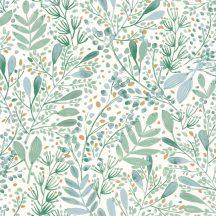 Caselio Green Life 101697620 JOY Natur botanikus levélágak levelek krémfehér kék szürke zöld arany tapéta
