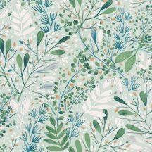 Caselio Green Life 101697672 JOY Natur botanikus levélágak levelek vízzöld kék zöld arany tapéta