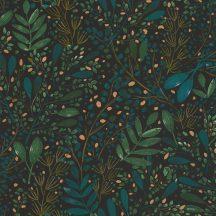 Caselio Green Life 101697692 JOY Natur botanikus levélágak levelek fekete kék zöld arany tapéta