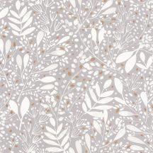 Caselio Green Life 101699002 JOY Natur botanikus levélágak levelek fehér szürke arany tapéta