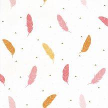 Girl Power 100774232  Gyerekszobai natur szines tollak fehér rózsaszín pink sárga tapéta