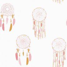 Girl Power 100784219  Gyerekszobai etno álomfogó fehér rózsaszín pink aranysárga tapéta