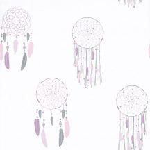 Caselio Girl Power 100785107  Gyerekszobai etno álomfogó fehér rózsaszín lila ezüst tapéta