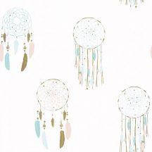 Caselio Girl Power 100786604  Gyerekszobai etno álomfogó fehér rózsaszín türkiz arany tapéta