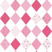 Gyerekszobai geometrikus szines rombuszminta csillagokkal fehér pink rózsaszín arany tapéta
