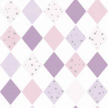 Gyerekszobai geometrikus szines rombuszminta csillagokkal fehér lila rózsaszín ezüst tapéta