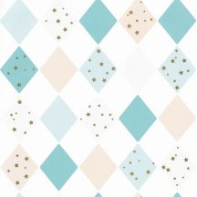 Gyerekszobai geometrikus szines rombuszminta csillagokkal fehér bézs türkiz arany tapéta