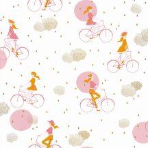 Gyerekszobai Hobby kerékpározó lányok fehér rózsaszín pink arany felhők tapéta