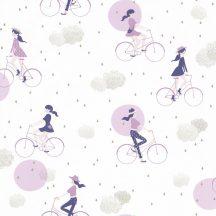 Girl Power 100845426  Gyerekszobai Hobby kerékpározó lányok fehér lila kék ezüst felhők tapéta