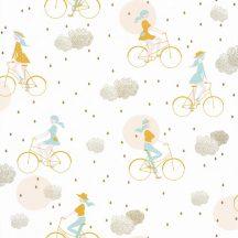 Hobby kerékpározó lányok krémfehér mentazöld sárga rózsaszín arany felhők tapéta
