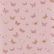 Gyerekszobai natur pillangók rózsaszín pink konyakszín meleg fehér dekoranyag