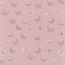Gyerekszobai natur pillangók rózsaszín lila/orgona szürke meleg fehér dekoranyag