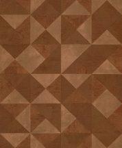 Grandeco Gravity GT3005 Geometrikus 3D váltakozó strukturájú síkidomok barna bronz tapéta