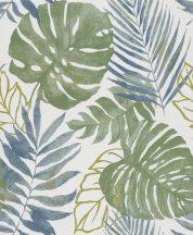 Grandeco Gravity GT3301 Natur botanikus trópusi levelek fehér zöld kék aranysárga tapéta