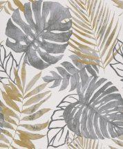 Grandeco Gravity GT3302 Natur botanikus trópusi levelek fehér szürke árnyalatok aranysárga tapéta