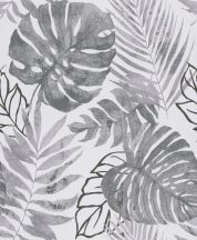 Grandeco Gravity GT3303 Natur botanikus trópusi levelek fehér szürke árnyalatok fekete tapéta