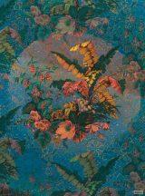 Komar Heritage Edition 1, HX4-030 Orient Blue virágos organikus díszítőminta digitális nyomat