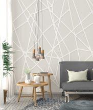 Behang Expresse Timeless INK7151 MIKADO SAND Grafikus design homokszín szürkésbézs fehér falpanel