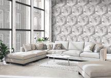 Behang Expresse Timeless INK7166 MATHS Geometrikus Design 3D szürke árnyalatok fehér falpanel
