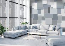 """Behang Expresse Timeless INK7167 PANEL NORDIC Geometrikus 3D Téglalapok """"skandinávul"""" szürke árnyalatok kék fehér falpanel"""