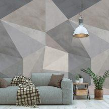 Behang Expresse Timeless INK7176 LOFT TAUPE Geometrikus 3D Gúlát formáló háromszögek szürke szürkésbarna kék fehér falpanel