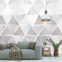 Behang Expresse Timeless INK7177 TRIA NEUTRAL Geometrikus Háromszögek halmaza szürke szürkéslila fehér vízkék vízzöld falpanel