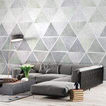 Behang Expresse Timeless INK7177 TRIA WILD Geometrikus Háromszögek halmaza fehér szürke árnyalatok szürkéskék vízzöld falpanel