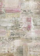 Behang Expresse Esbjerg INK7500 LE MARAIS Patchwork levélminta fehér rózsaszín zöld szines falpanel