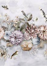 Behang Expresse Floral Utopia INK7550 COOL FLORALS Virágok növények madarak krém zöld világoskék rózsaszín lila falpanel
