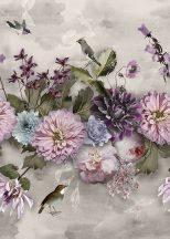 Behang Expresse Floral Utopia INK7551 MIDSUMMER Virágok növények zöld világoskék lila pink bíbor fehér falpanel